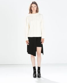 FUNNEL NECK CABLE KNIT SWEATER | Zara