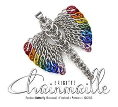 Pendant Butterfly Rainbow •Materials: aluminum jump rings, stainless steel bail •L7.5cm x W6cm •Weaves: graduated half persian 3 sheet 6 in 1 and graduated full persian •Design by Brigitte Chainmaille ©2016