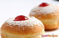 Sufganiyot - Traditional Israeli Jelly Donuts for Chanukah | via @SparkPeople #Hanukkah #recipe #food #homemade