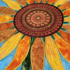 Art Quilting, Quilting Ideas, Flower Quilts, Embroidered Quilts, Applique Ideas, Block Of The Month, Awesome Designs, Plant Art, Fabric Art