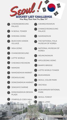 travel tip korea bucket list challenge (travel series) /SEOUL gt; Seoul Korea Travel, South Korea Seoul, Asia Travel, Spain Travel, Travel Checklist, Travel List, Food Travel, Budget Travel, Seoul Itinerary