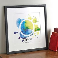 Boys Watercolour Splash Print by Letterfest, the perfect gift for Explore more unique gifts in our curated marketplace. Watercolor Cards, Watercolor Print, Fun Prints, Graphic Prints, New Baby Presents, Childrens Bedroom Decor, Visual Communication Design, Personalized Gifts For Kids, Childrens Gifts