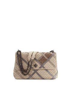 L0QLD Bottega Veneta Olimpia Intrecciato Snakeskin & Leather Shoulder Bag, Gray
