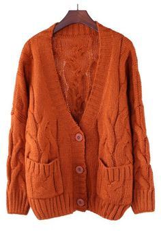 / Apricot Plain Pockets V-neck Thick Cotton Blend Cardigan