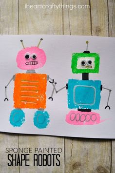 Learn about shapes and robots with preschoolers with this sponge painted shape robots craft.