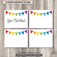 Free Editable Tent Cards and Buffet Labels. Rainbow Bunting.   Free party printables from Sunshine & Pop Designs on Etsy