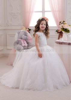Princess Ivory Lace Tulle Beads Keyhole Back Small Train Flower Girl Dress
