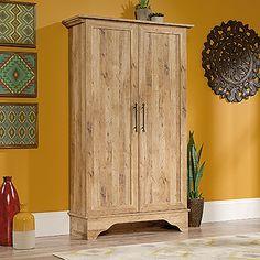 Four adjustable shelves. Full upper shelf. Antiqua Chestnut finish.