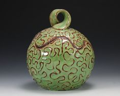 Spring Green Squiggle Jar Red Stoneware by dancingclay on Etsy, $29.00