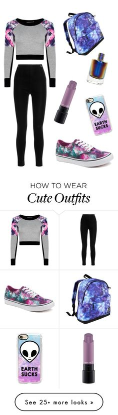 """""""✨ #Galaxy #Outfit #Purple #GalaxyOutfit"""" by natyxoxox on Polyvore featuring MAC Cosmetics, Vans, Casetify, Hot Tuna and Balmain"""