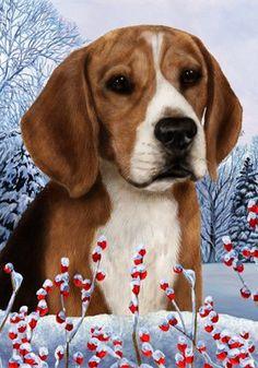 Beagle   Best Of Breed Winter Berries Garden Flag