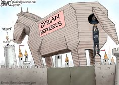 Could the Syrian refugees be a ISIS Trojan Horse? Political Cartoon by A.F.Branco ©2015