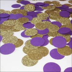 Instantly decorate and add sparkle to your party tables with our purple and gold glitter party confetti. A boutique chic handmade mix perfect for weddings, showers and birthday celebrations. Have some
