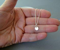 Tiny Dot Necklace, Silver Disc Necklace, Delicate Necklace, Simple Necklace, Layering Necklace, Layered Long