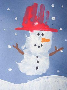 handprint snowman.. Our Christmas Eve craft!!