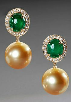 Emerald and golden south sea pearl by Hans Brumann