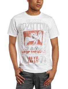 FEA Merchandising Mens Led Zeppelin Tokyo 71 Lightweight Tee, White, Medium