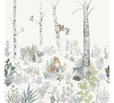 The wallpaper Magic Forest Mural - 7481 from Boråstapeter is a wallpaper with the dimensions x m. The wallpaper Magic Forest Mural - 7481 belongs to the Wallpaper Magic, Tier Wallpaper, Forest Wallpaper, White Wallpaper, Animal Wallpaper, Wallpaper Samples, Forest Mural, Boutique Deco