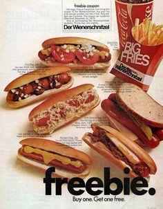 1972 Der Wienerschnitzel hot dog restaurant print ad by Vividiom, $9.00