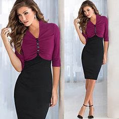 Eleagnt office dress Wear to work formal Women Vintage Rockabilly button half sleeve Bodycon evening party Pencil Dress Alternative Measures