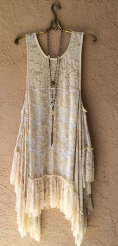 Image of Anthropologie Romantic Velvet cut work with lace hi low beach boho bride