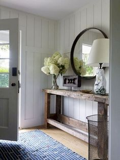 Ways to Use the Shiplap LookBECKI OWENS Modern farmhouse entryway with reclaimed wood console, round mirror and white shiplap walls.Modern farmhouse entryway with reclaimed wood console, round mirror and white shiplap walls. Farmhouse Interior, Modern Farmhouse Decor, Farmhouse Style Decorating, French Farmhouse, Farmhouse Design, Country Farmhouse, Farmhouse Ideas, French Country, Country Decor