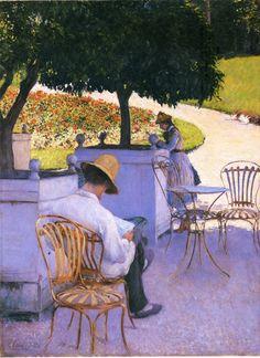 """peinture française : Gustave Caillebotte, 1878, """"Les orangers"""", lecture dans un parc public, 1870s"""