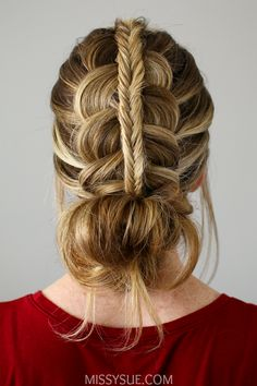 Stacked Fishtail & Dutch Braid Messy Bun