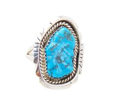 Navajo Silver Sleeping Beauty Turquoise Ring Size 8.5
