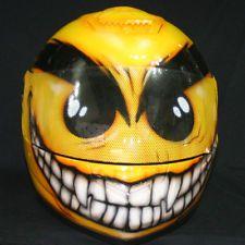 CUSTOM PAINTED WIERD SMILEY FULL FACE AIRBRUSH PAINT MOTORCYCLE RACE HELMET DOT