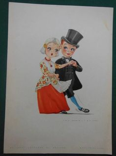 1962 HOLLAND-AMERICAN LINE CRUISE SHIP DINNER MENU JAN LAVIES DUTCH CHILDREN #2