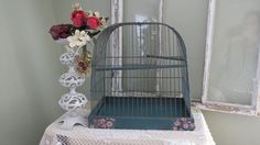 Vintage Metal Bird Cage - Shabby Chic Decor - Bird Cage Display (49.00 USD) by TimesPast72