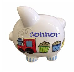 Pin for Later: Gift Guide: Wow-Worthy Personalized Gifts For Kids to Check Out Now Personalized Choo-choo Train Piggy Bank with Handpainted Name