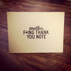 Another Fing Thank You Note by AnotherFingTote on Etsy, $14.00