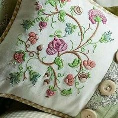 Jacobean Tangle by Hazel Blomkamp. Kit available for purchase… Cushion Embroidery, Jacobean Embroidery, Types Of Embroidery, Crewel Embroidery, Vintage Embroidery, Ribbon Embroidery, Cross Stitch Embroidery, Embroidery Patterns, Machine Embroidery