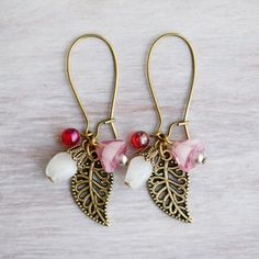 Antique Brass Leaf and Glass Flower Dangle Earrings by YuniDesigns
