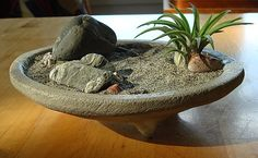 Peaceful ZEN Garden Concrete Planter and Air Plant by MyZen, $29.00