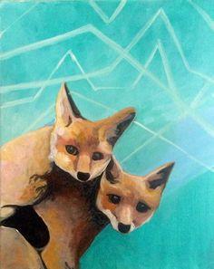 #Foxes #Friends #acrylicpainting #etsy #art #nature #retro #aztec #forest #wild #creatures #love #aqua #painting #design