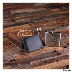 NEW-Slim Fit! Personalized Engraved Leather Bifold Mens Travel Wallet Money Clip & Steel Whiskey Flask and Box Groomsmen, Best Man Mens Travel Wallet, Personalized Gifts For Men, Customized Gifts, Custom Gifts, Groomsmen Gift Box, Wood Gift Box, Money Clip Wallet, Mens Gift Sets, Crates