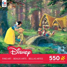 Enjoy a peaceful day with Snow White and this jigsaw puzzle from Ceaco. This 550 piece puzzle features a beautiful image of Snow White kissing Dopey the Dwarf goodbye. Full of bright, bold colors, thi