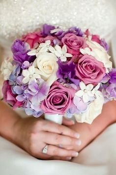 pink & purple bouquet without the white flowers in it - looks a bit too DIY arts and crafts! like the sparkle though.