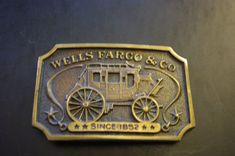 Brass Wells Fargo & Co Stage Coach Belt Buckle by Wells Fargo #Casual