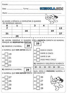 Diversas Atividades de matemática do 1° ano para imprimir T 26, Professor, Sheet Music, Classroom, Education, School, Internet, First Grade Assessment, Kid Activities