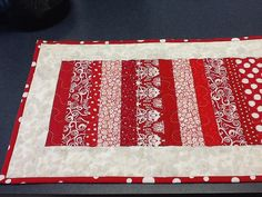 Red and White Quilted Table Runner by Clothstitched on Etsy