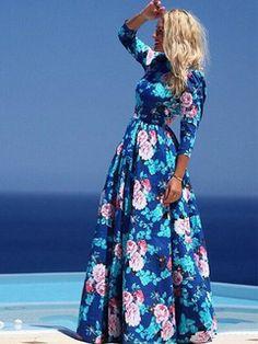 Vestido Maxi do Chiffon Floral vintage