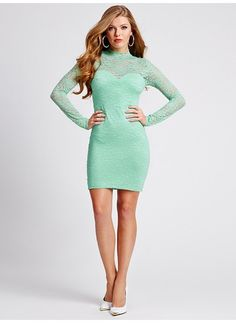 Long-Sleeve Mock-Neck Lace Dress