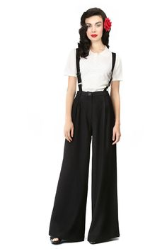 Brand New Collectif Retro High Waisted Swing Trousers with Braces 40s Style