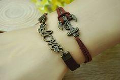 Brown charm braceletbronze anchorlovebrown leather by Richardwu, $4.50
