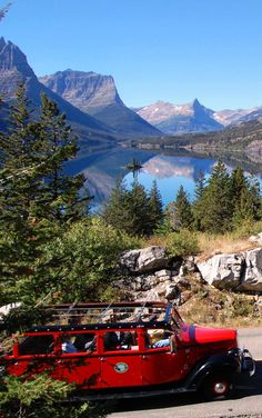 Going To The Sun Road in Montana by Red Jammer Bus.