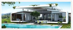 Luxury Residences that Offer You the Opportunity to Live an Extraordinary Eco-lifestyle in Costa Rican Flat Roof House Designs, Houses In Costa Rica, Modern Tropical, Tropical Design, Unusual Homes, Thing 1, Types Of Houses, Luxury Real Estate, Interior Design Inspiration